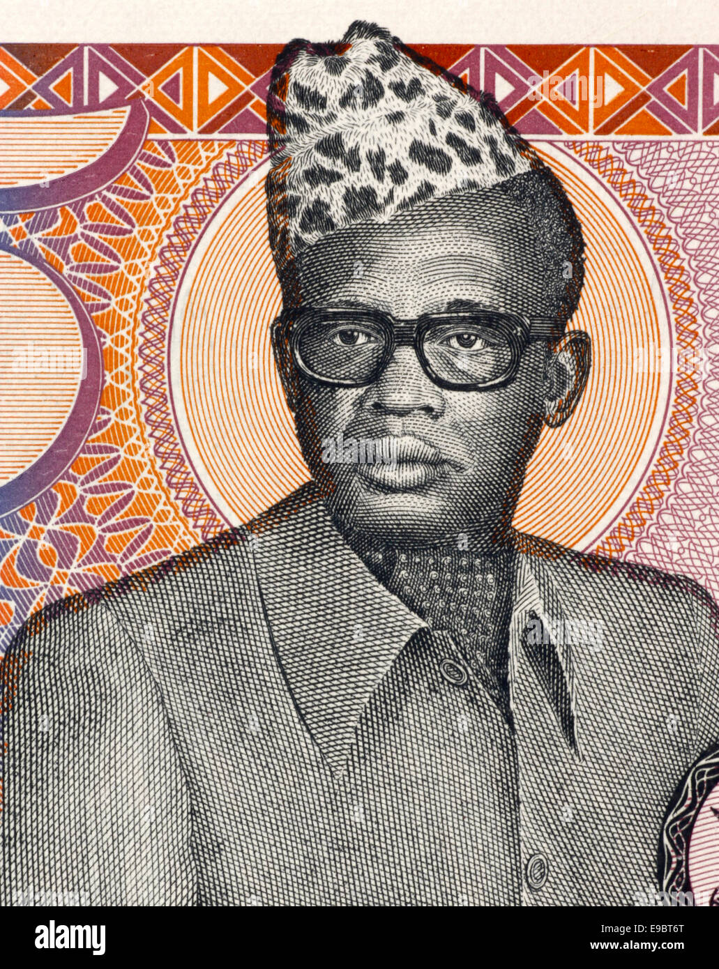 Mobutu Sese Seko (1930-1997) on 5 Zaires 1985 Banknote from Zaire. President of the Democratic Republic of the Congo. - Stock Image