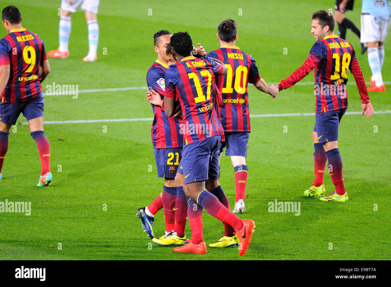 BARCELONA - MAR 26: F.C. Barcelona players celebrate a goal at the Camp Nou on the Spanish League. - Stock Image