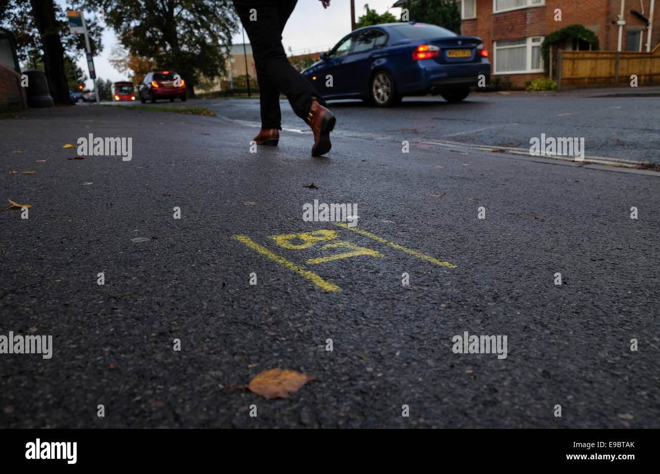 Pre markings on pavements and roads before works begin for service providers to dig up roads - Stock Image
