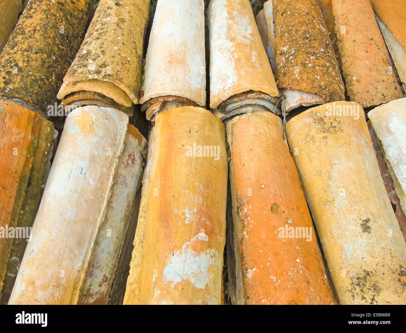 Old Arabic tiles. Grouped for reconstruction. - Stock Image