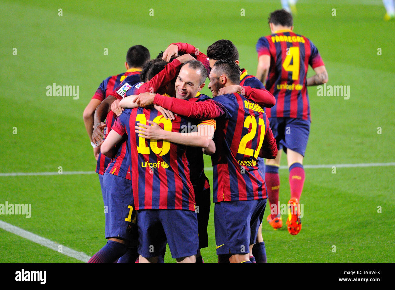 BARCELONA - APR 21: F.C. Barcelona footballers celebrate a goal against Athletic Bilbao at the Camp Nou Stadium. - Stock Image