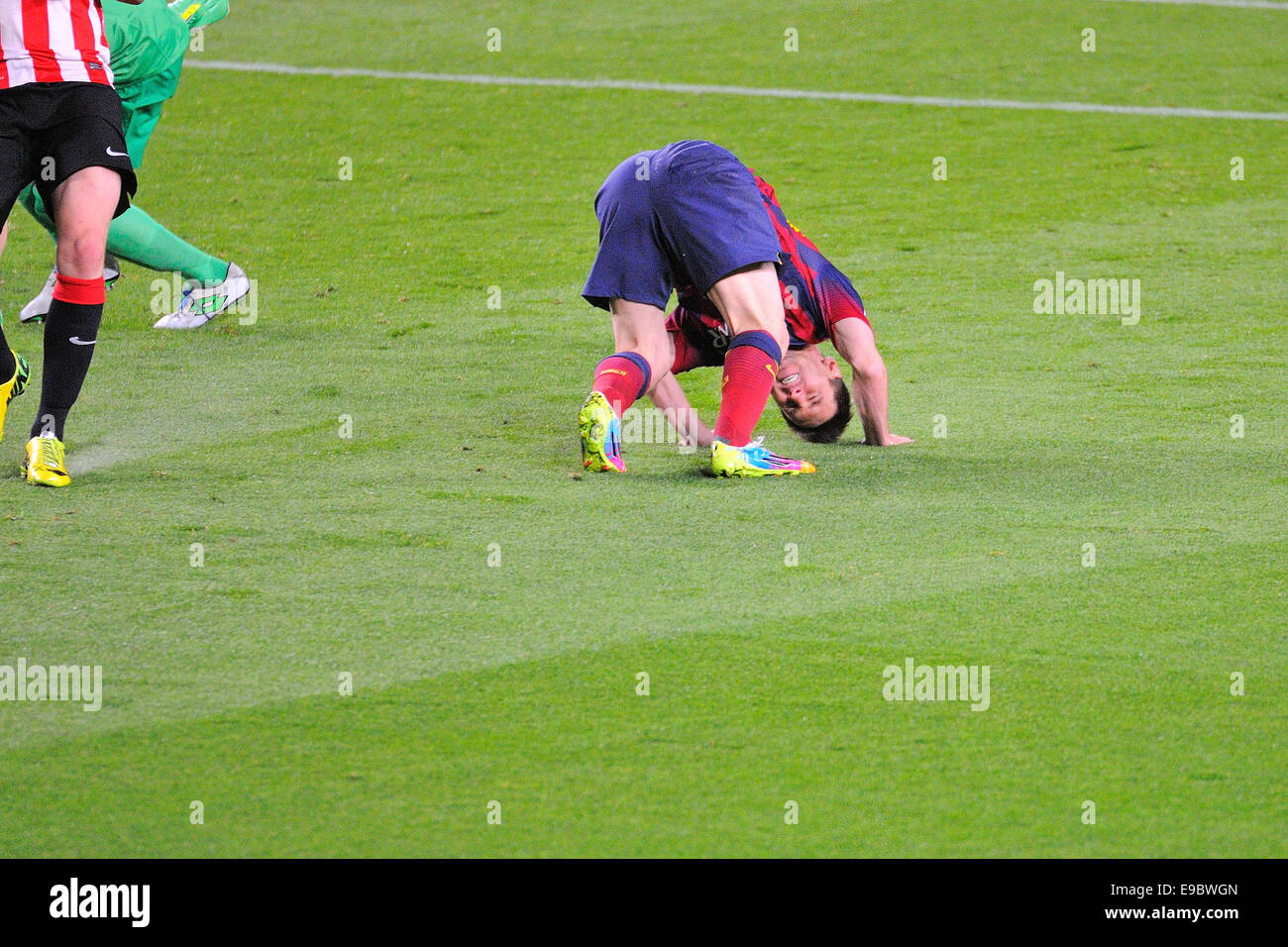 BARCELONA - APR 21: Leo Messi, F.C Barcelona player, in action against Athletic Bilbao at the Camp Nou Stadium. - Stock Image