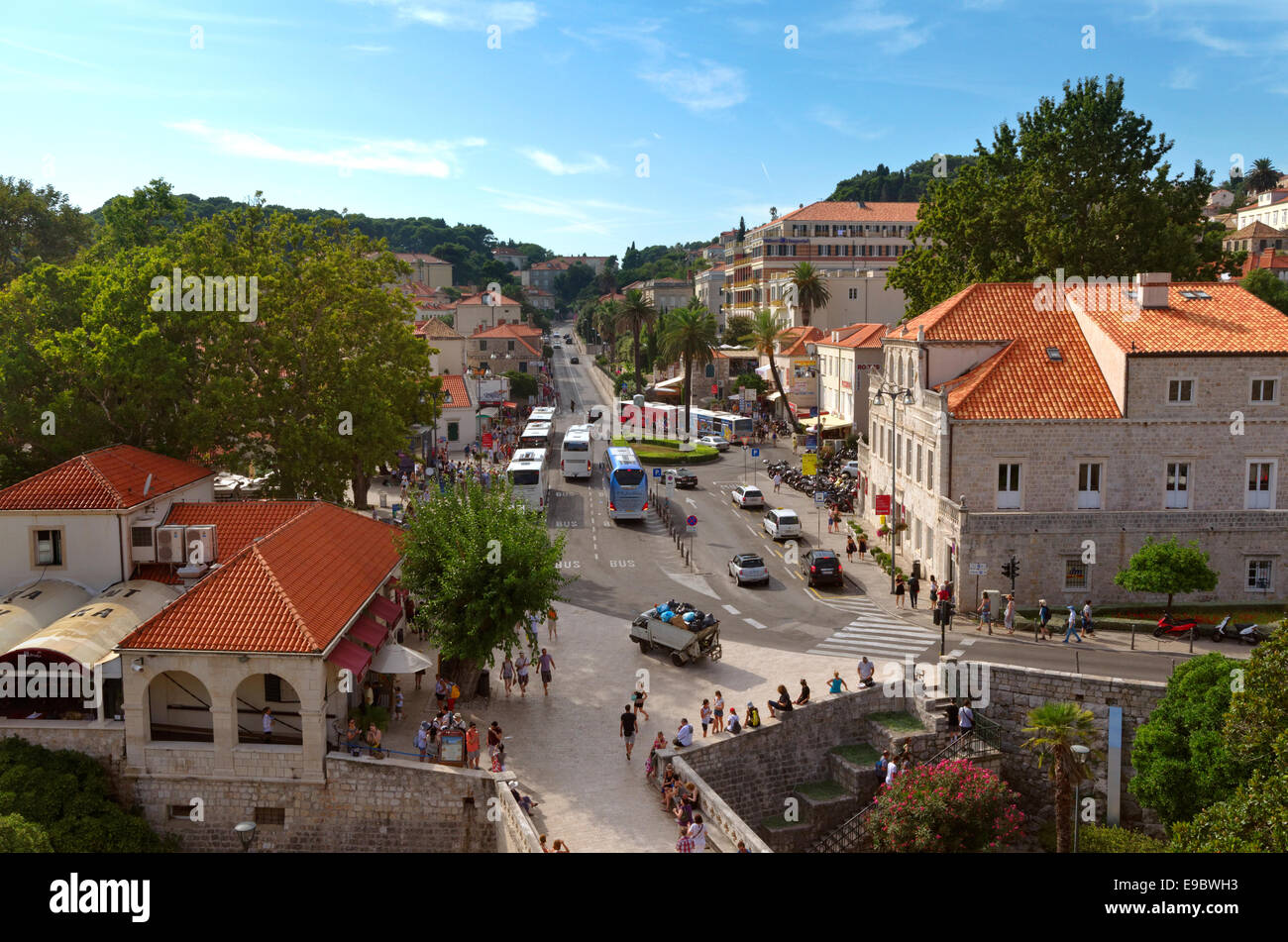 Dubrovnik old town Pile entrance gate and bus terminus, Croatia - Stock Image