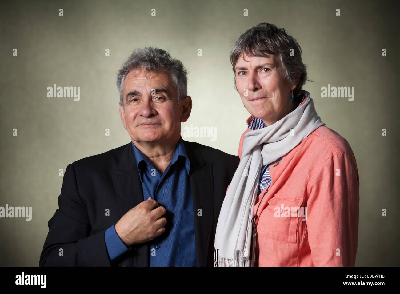 Bernardo Atxaga, Basque writer & Margaret Jull Costa, translator, at the Edinburgh International Book Festival - Stock Image