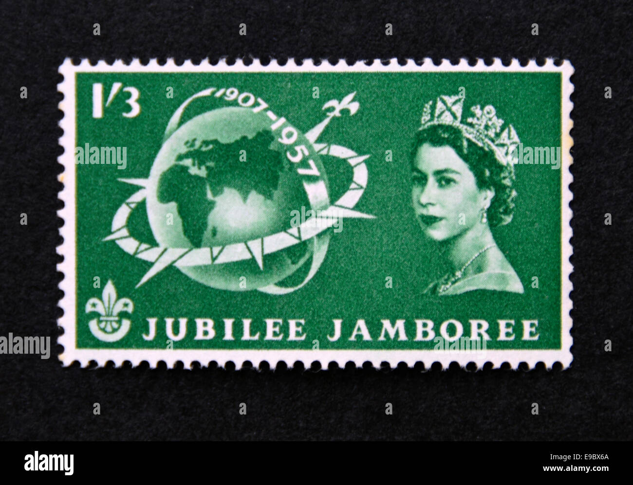 Postage stamp. Great Britain. Queen Elizabeth II. World Scout Jubillee Jamboree. 1957. - Stock Image