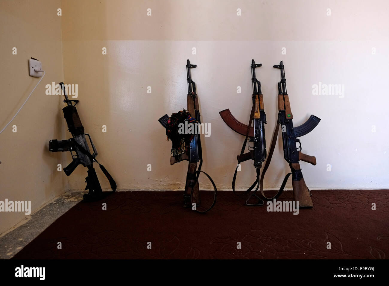 Kalashnikov ak-47 and M-16 guns in PKK Kurdish guerrilla compound northern Iraq - Stock Image