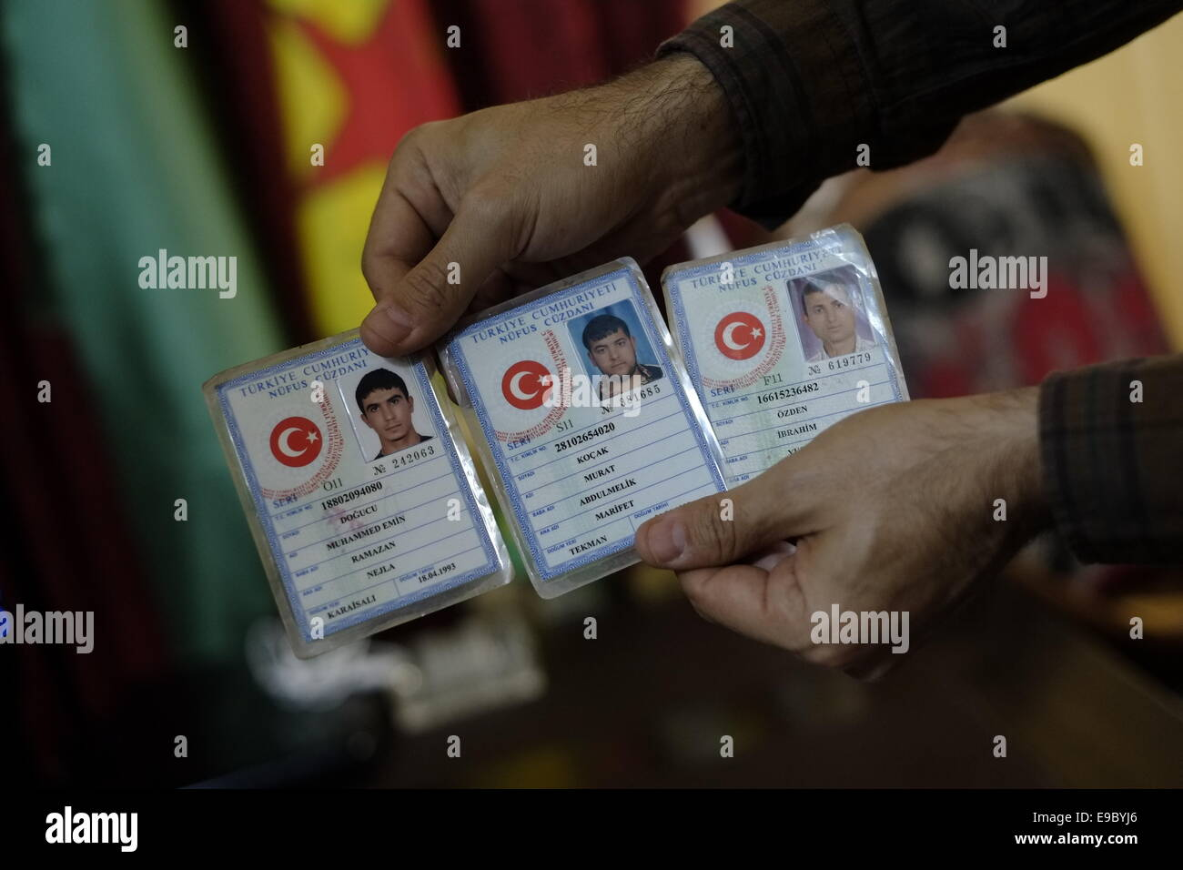 Turkish Identity cards of fighters of Islamic State of Iraq and the Levant ISIS or Daesh captured by Kurdish People's - Stock Image
