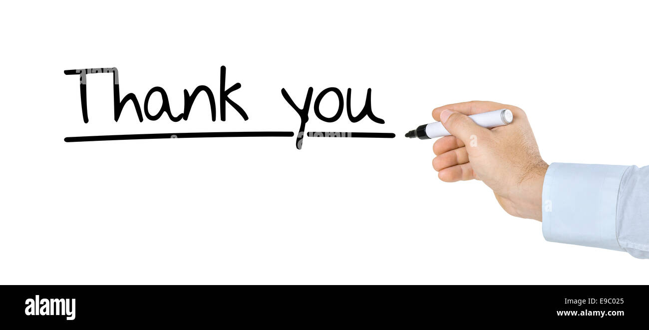 Hand with pen writing Thank you - Stock Image