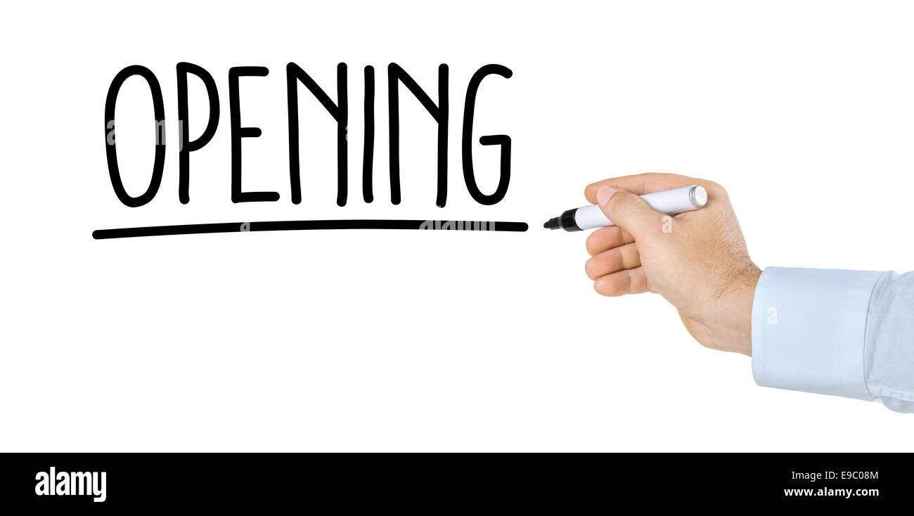 Hand with pen writing the word Opening - Stock Image
