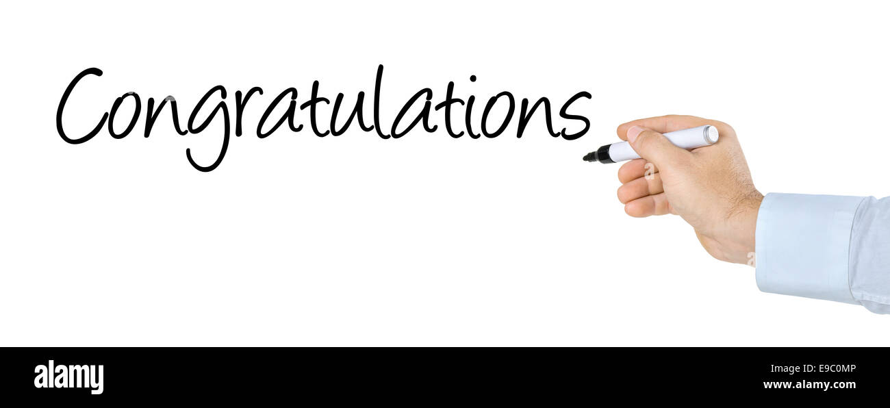 Hand with pen writing the word Congratulations - Stock Image
