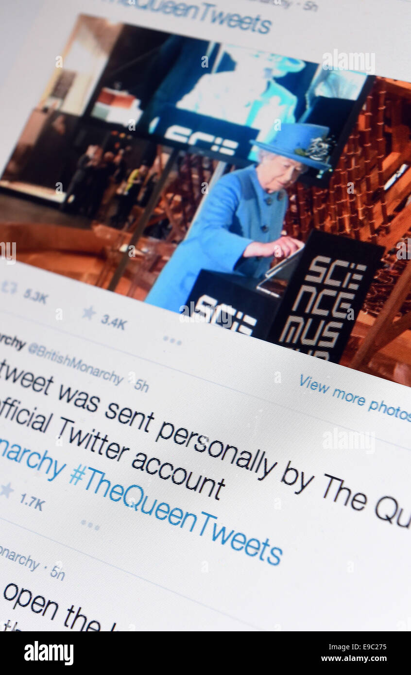 London, UK. 24th Oct, 2014. Queen sends her first Twitter message from the Science Museum in London, Britain, UK - Stock Image
