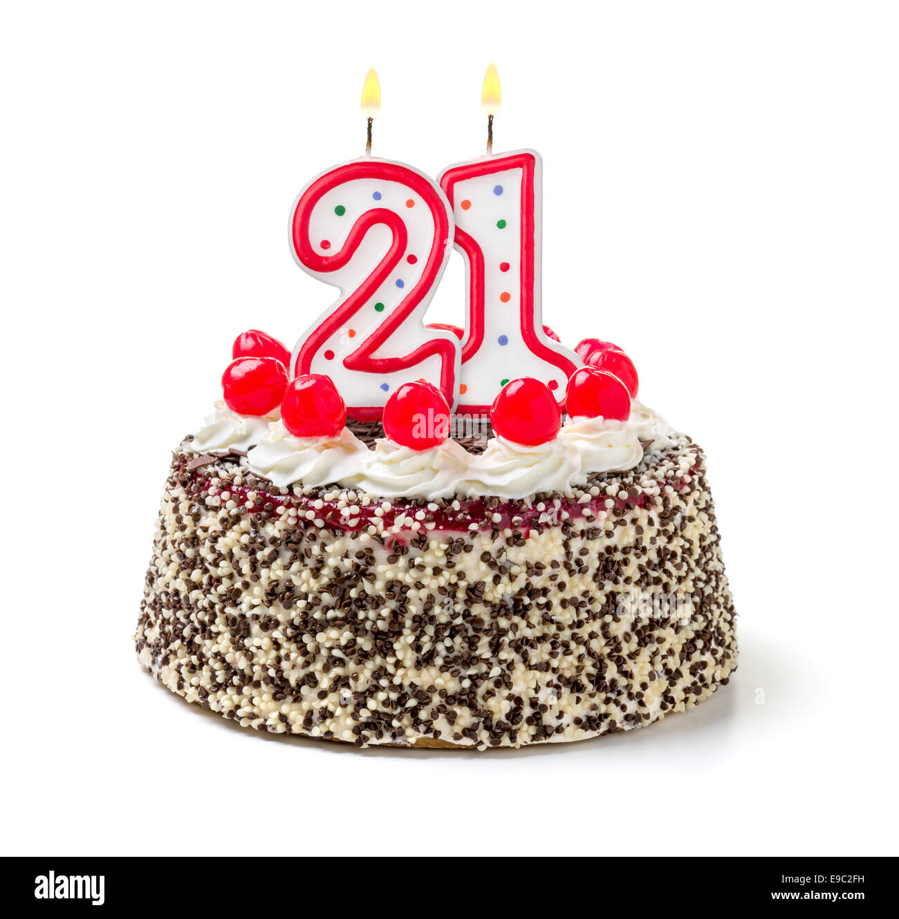 Birthday Cake With Burning Candle Number 21 Stock Photo 74638805