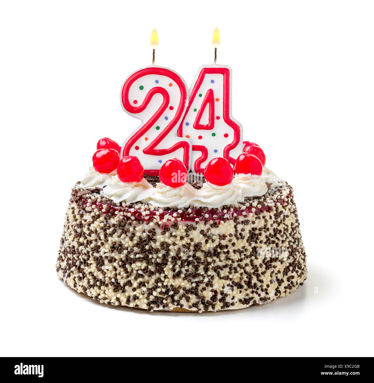 Terrific Birthday Cake With Burning Candle Number 24 Stock Photo 74638827 Personalised Birthday Cards Veneteletsinfo