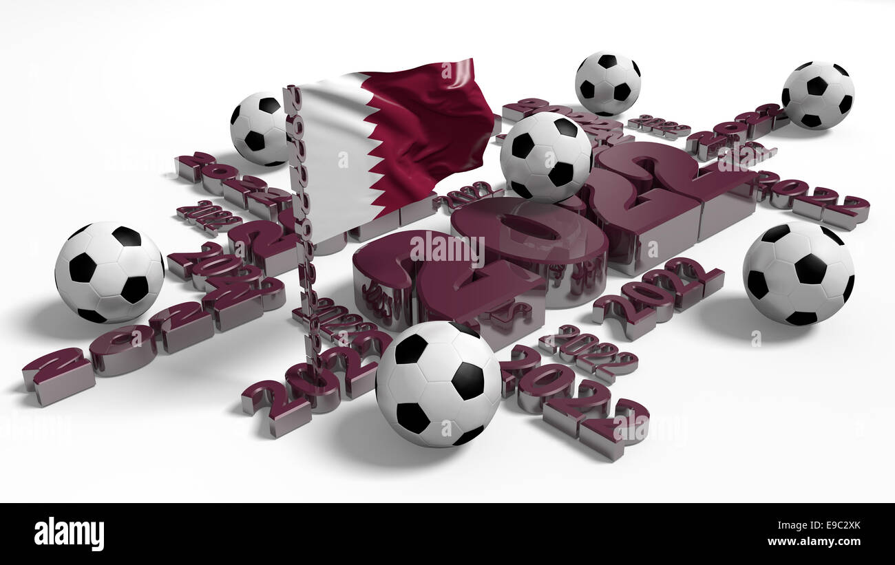 Football 2022 design with Qatar Flag and Balls on a white background - Stock Image