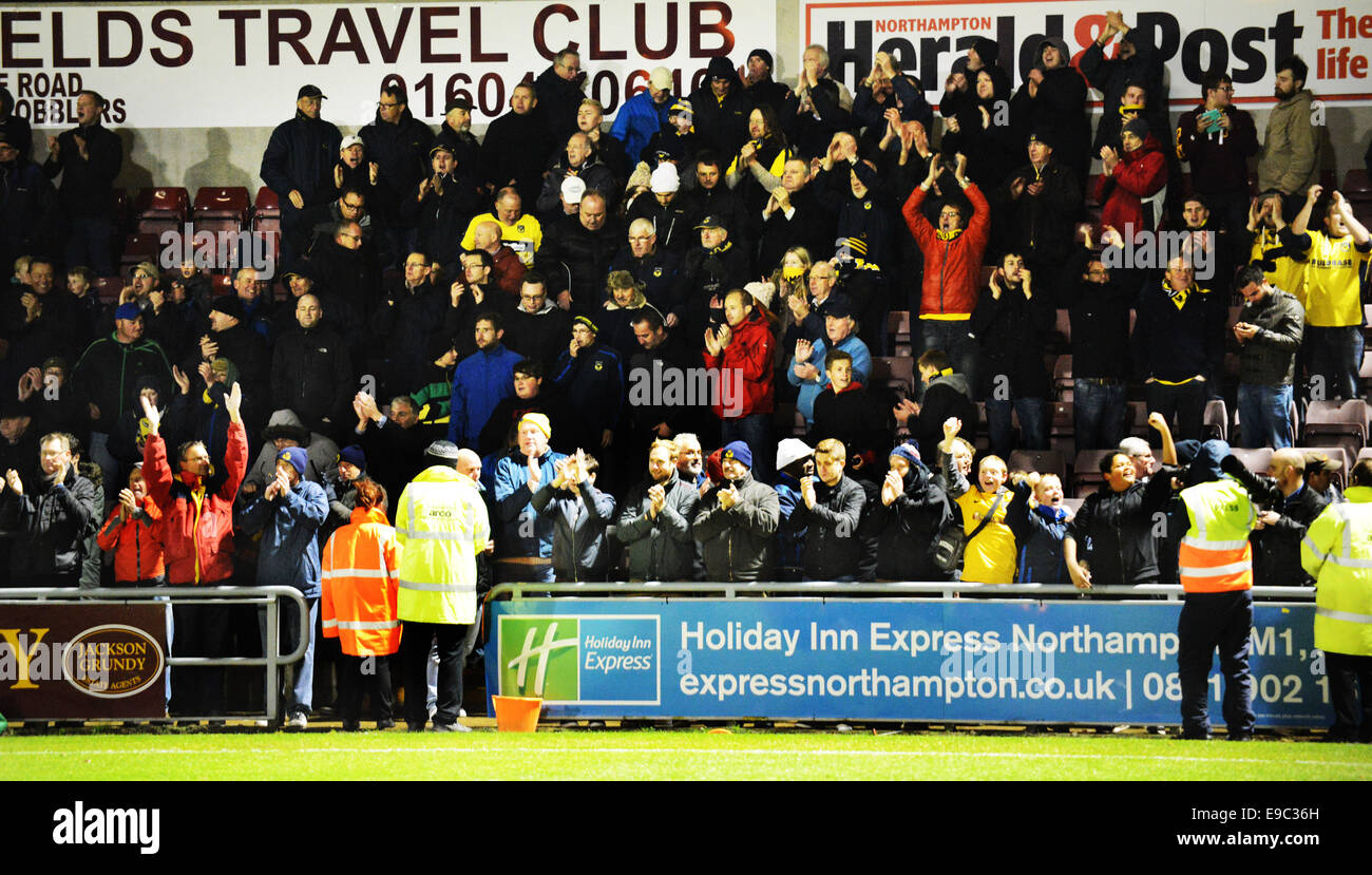 Job name: sport Utd fans at end Catchline: UNITED away at Northampton Length: double page spread - Stock Image
