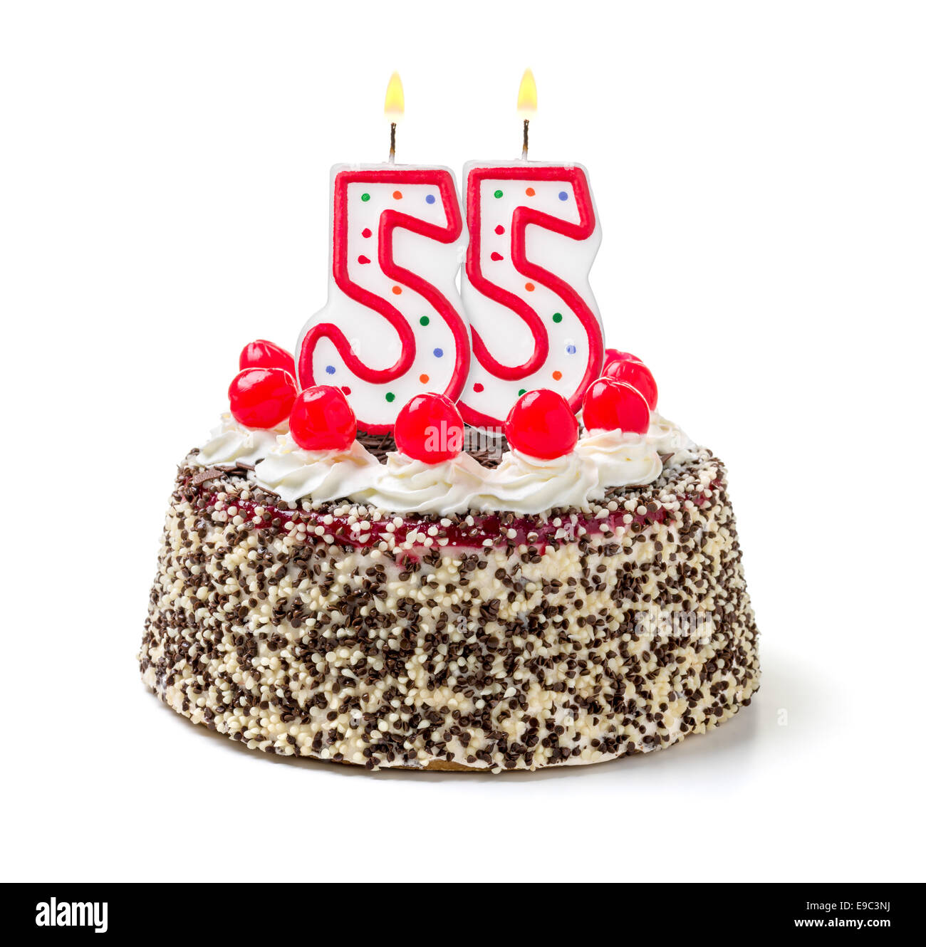 Remarkable Birthday Cake With Burning Candle Number 55 Stock Photo 74639758 Funny Birthday Cards Online Inifofree Goldxyz