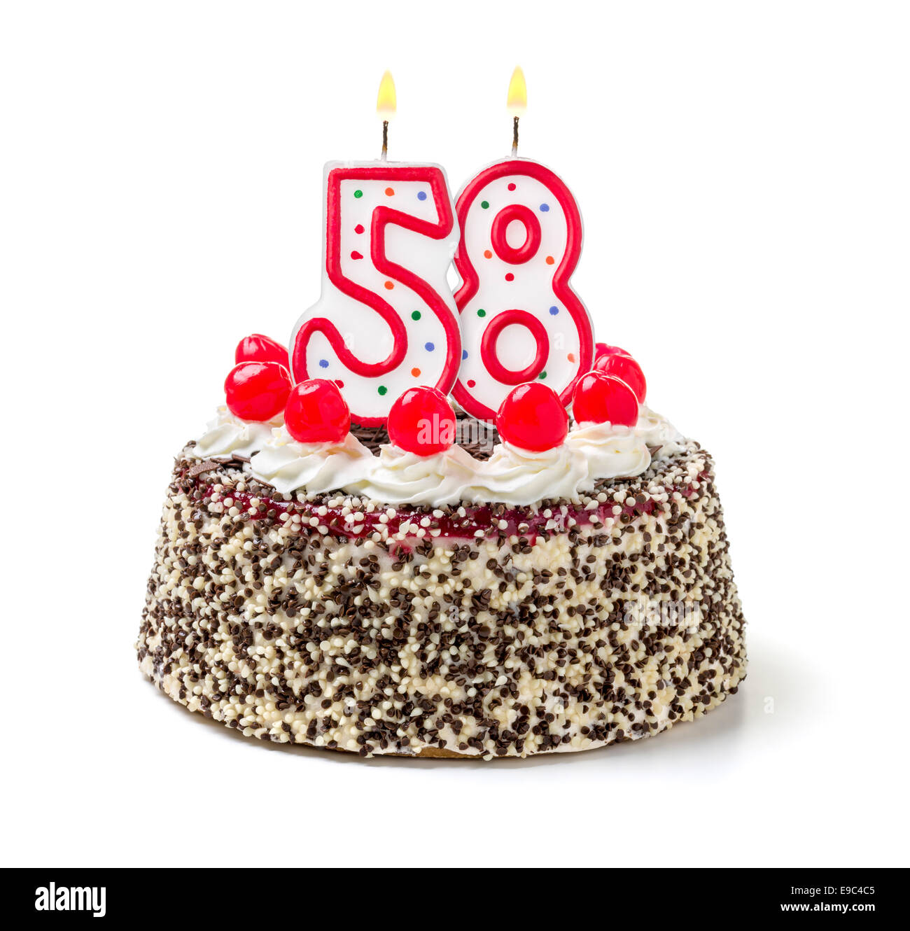 Birthday Cake With Burning Candle Number 58 Stock Photo 74640277