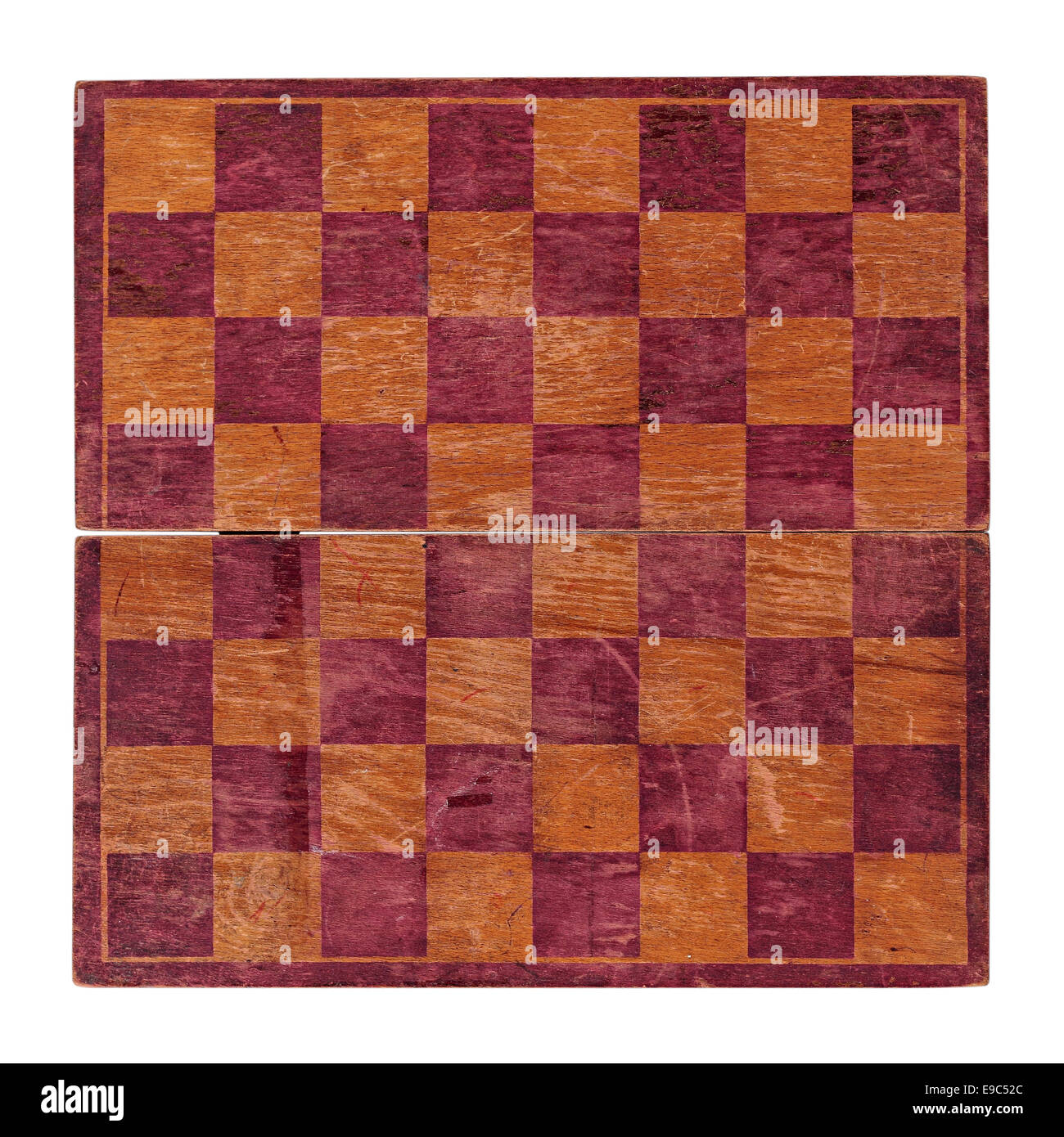 Old chess board on a white background.  It is isolated, the worker of paths is present. - Stock Image