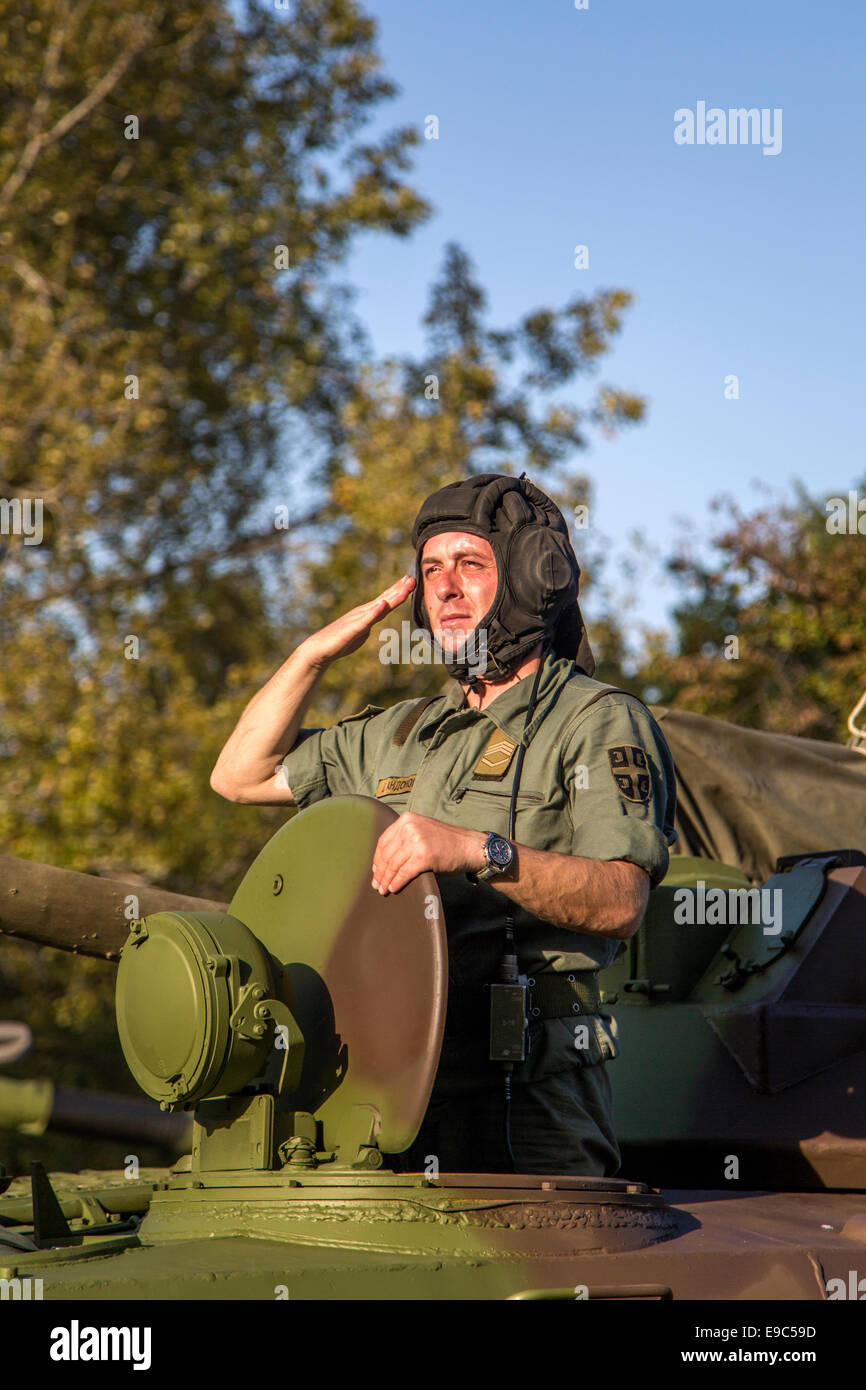 Unidentified serbian soldier in BVP M-80A Infantry Fighting Vehicle - Stock Image