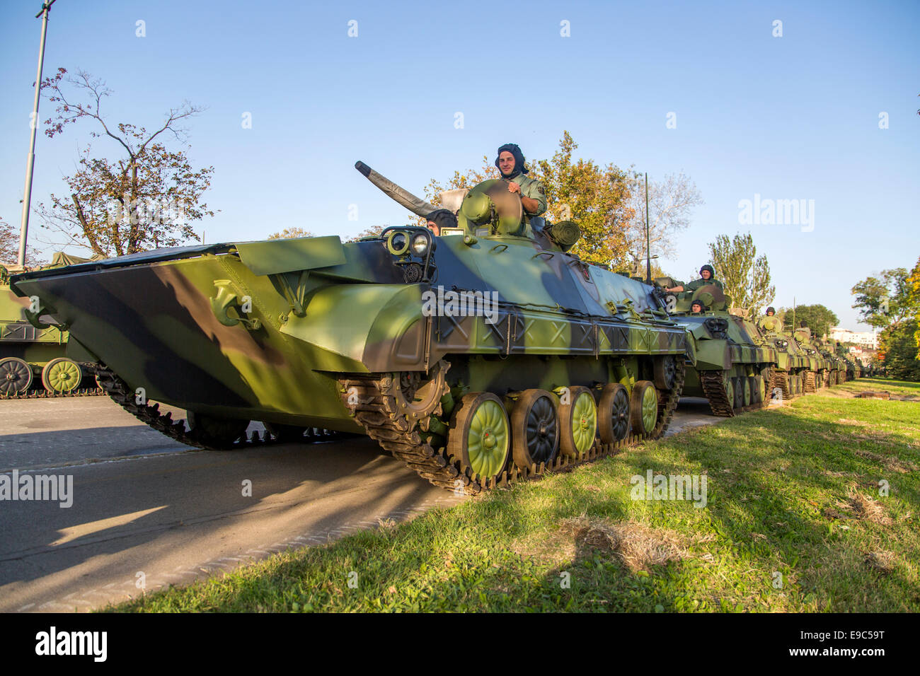 Unidentified serbian soldiers in BVP M-80A Infantry Fighting Vehicles - Stock Image