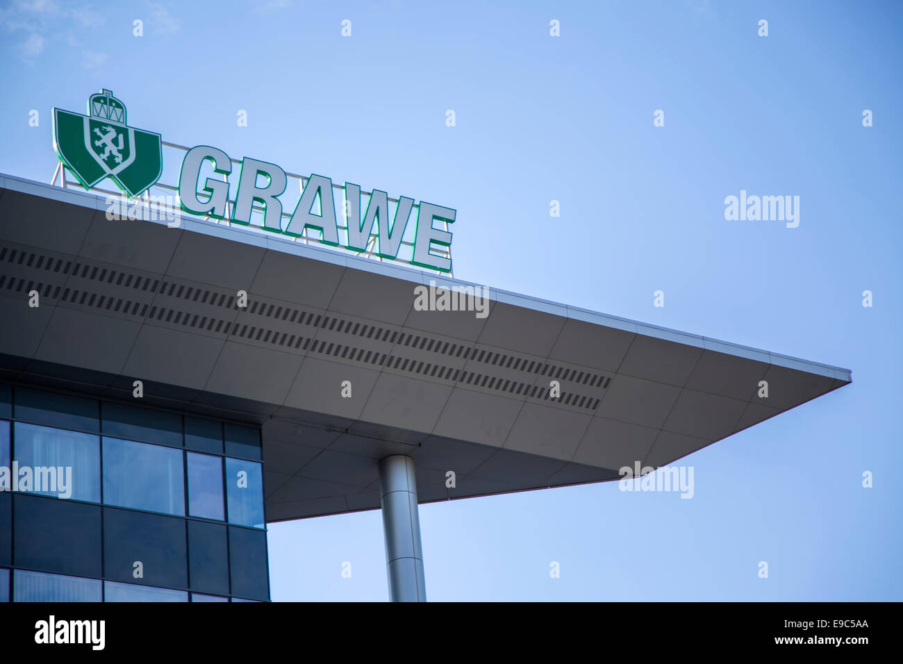 Detail of the Grawe building in Belgrade, Serbia. - Stock Image