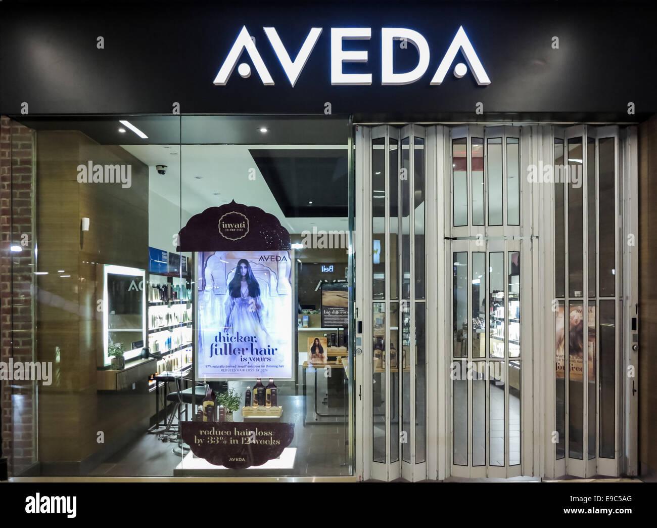 Aveda shop in Alberta, Canada. - Stock Image