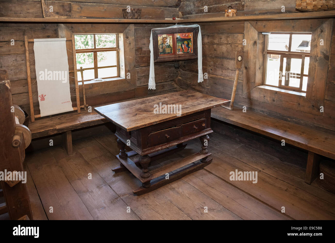 Interior of old rural wooden house in the museum of wooden architecture Vitoslavlitsy. Wooden - Stock Image