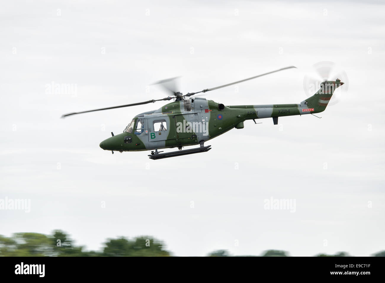 British Army Westland Lynx helicopter XZ184 displays at the Royal International Air Tattoo at RAF Fairford in Gloucestershire - Stock Image