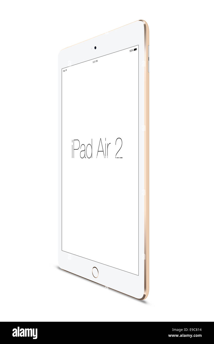Tablet ipad air 2 gold, digitally generated artwork. - Stock Image