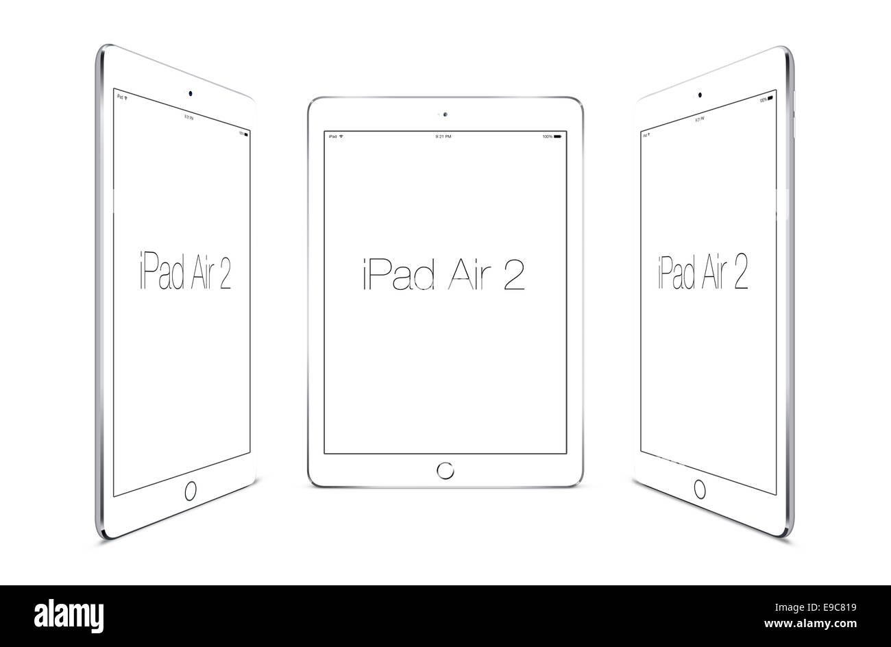 Tablets ipad air 2 silver, digitally generated artwork. - Stock Image