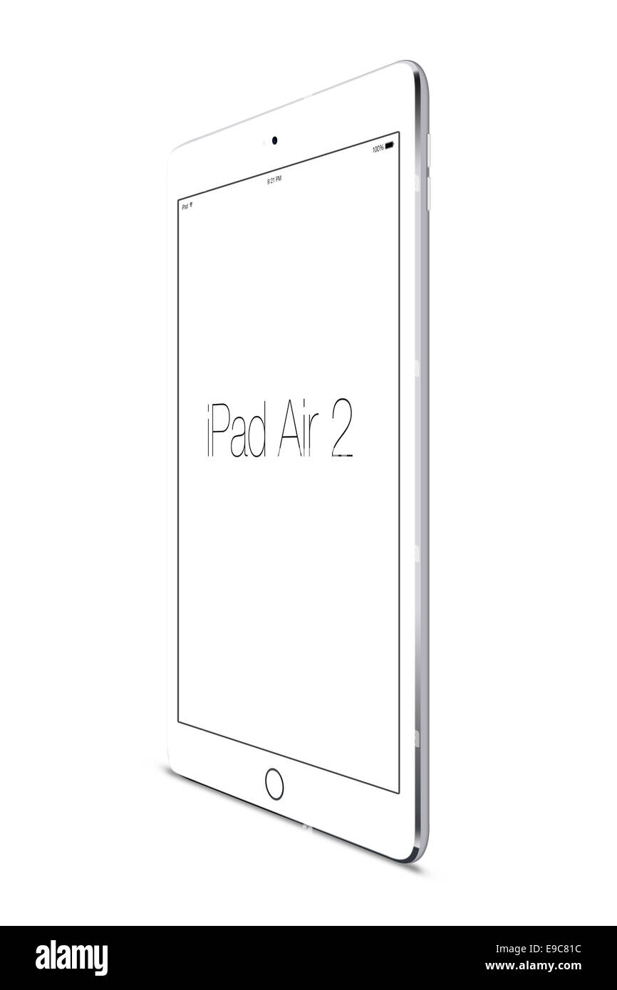 Tablet ipad air 2 silver, digitally generated artwork. - Stock Image
