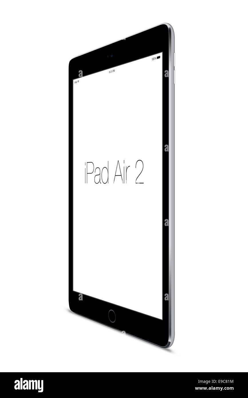 Tablet ipad air 2 space gray, digitally generated artwork. - Stock Image