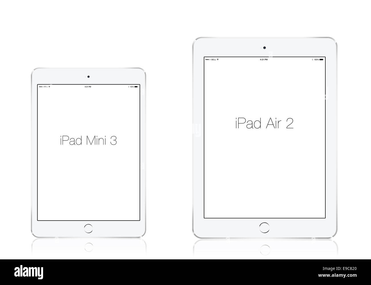 Tablets iPad mini 3 and iPad air 2 silver, digitally generated artwork. - Stock Image