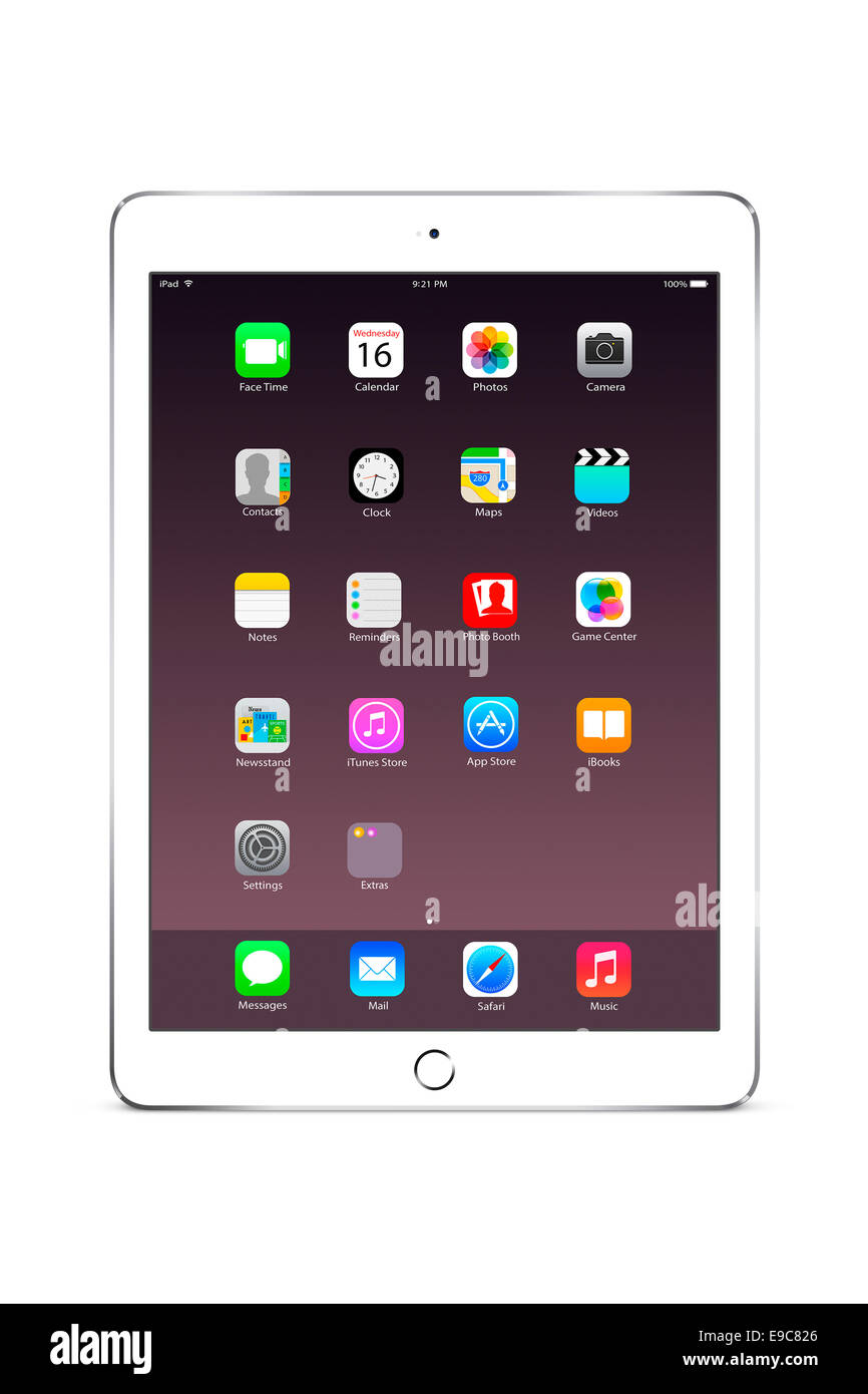 Tablet ipad air 2 (silver) with apps, digitally generated artwork. - Stock Image