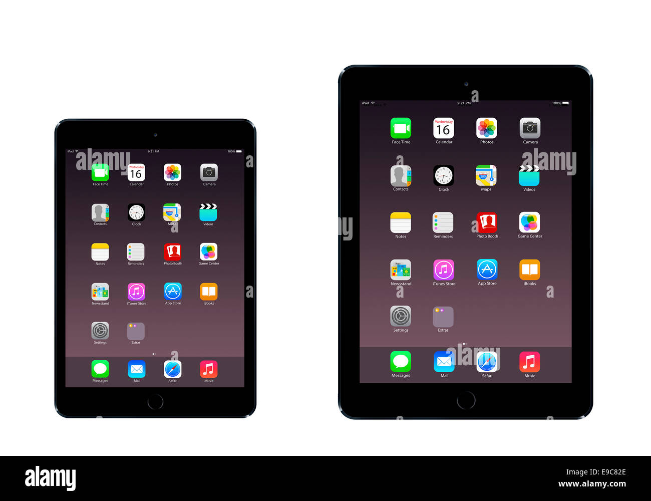 Tablets iPad mini 3 iPad air 2 (space gray)  with apps, digitally generated artwork. - Stock Image