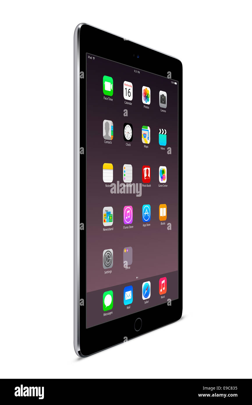 Tablet ipad air 2 (space gray) with apps, digitally generated artwork. - Stock Image
