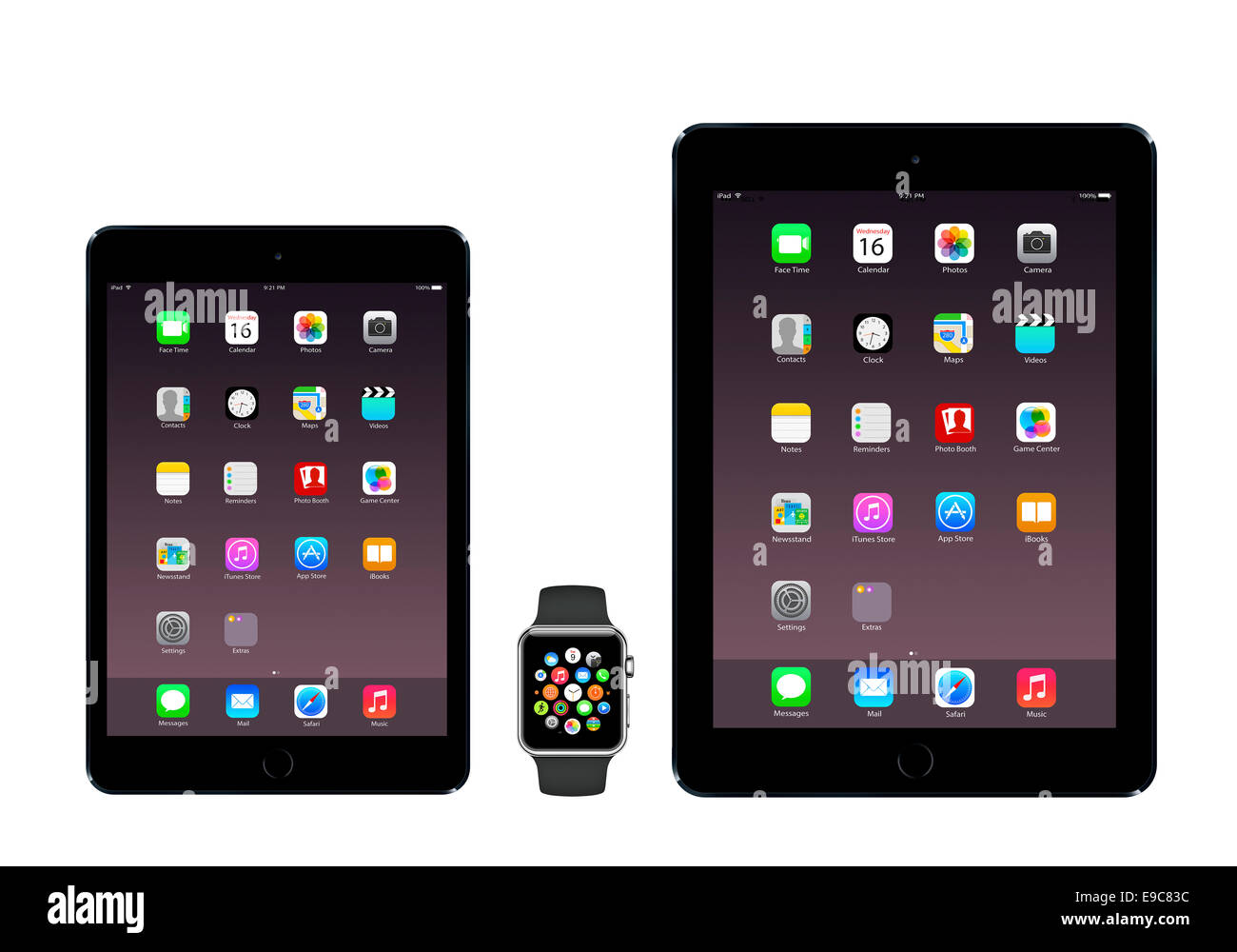 Tablets iPad mini 3, iPad air 2 space gray, apple watch sport with icons home screen, white background. - Stock Image