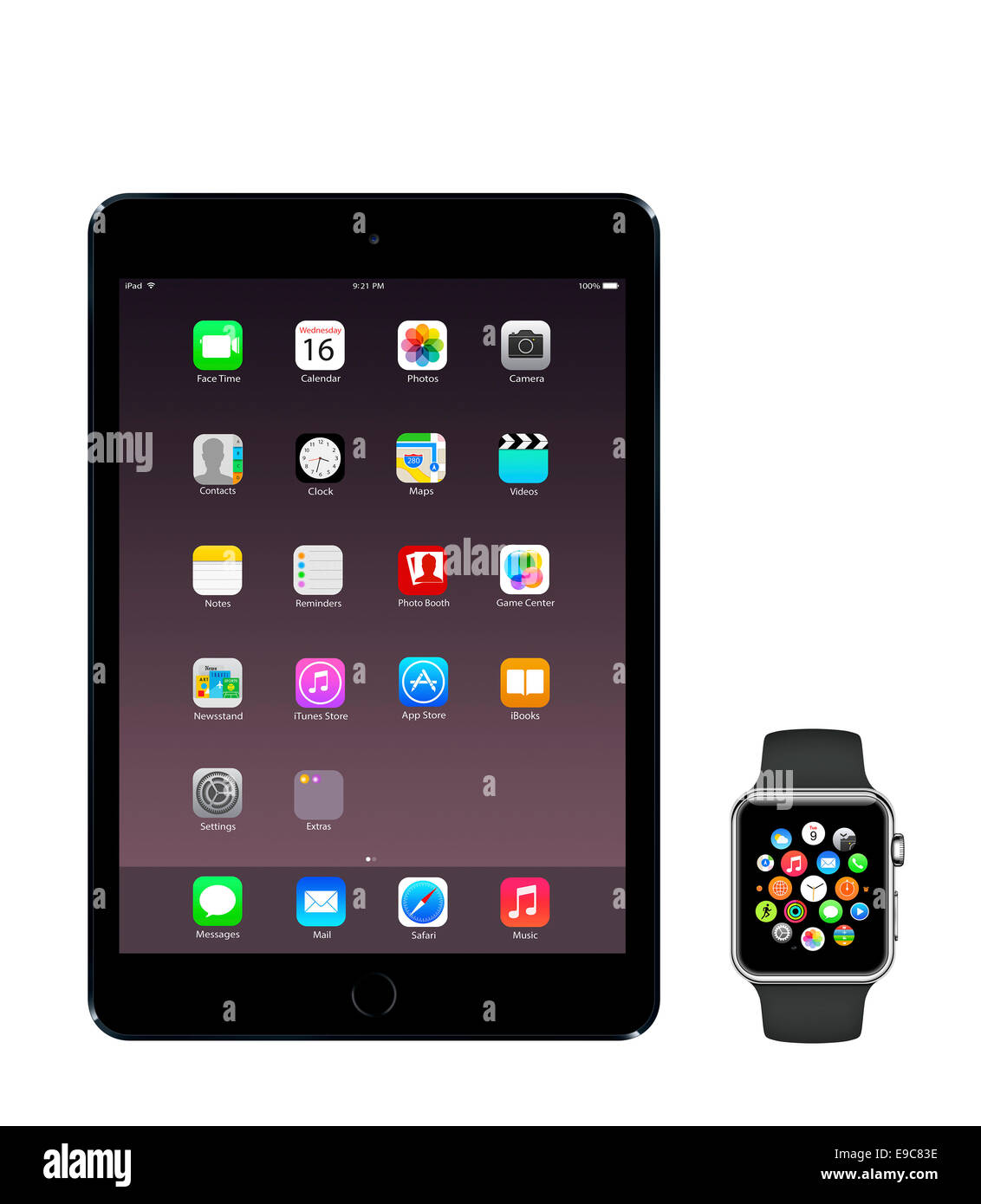 Tablet iPad mini 3 space gray, apple watch sport with icons home screen, white background. - Stock Image