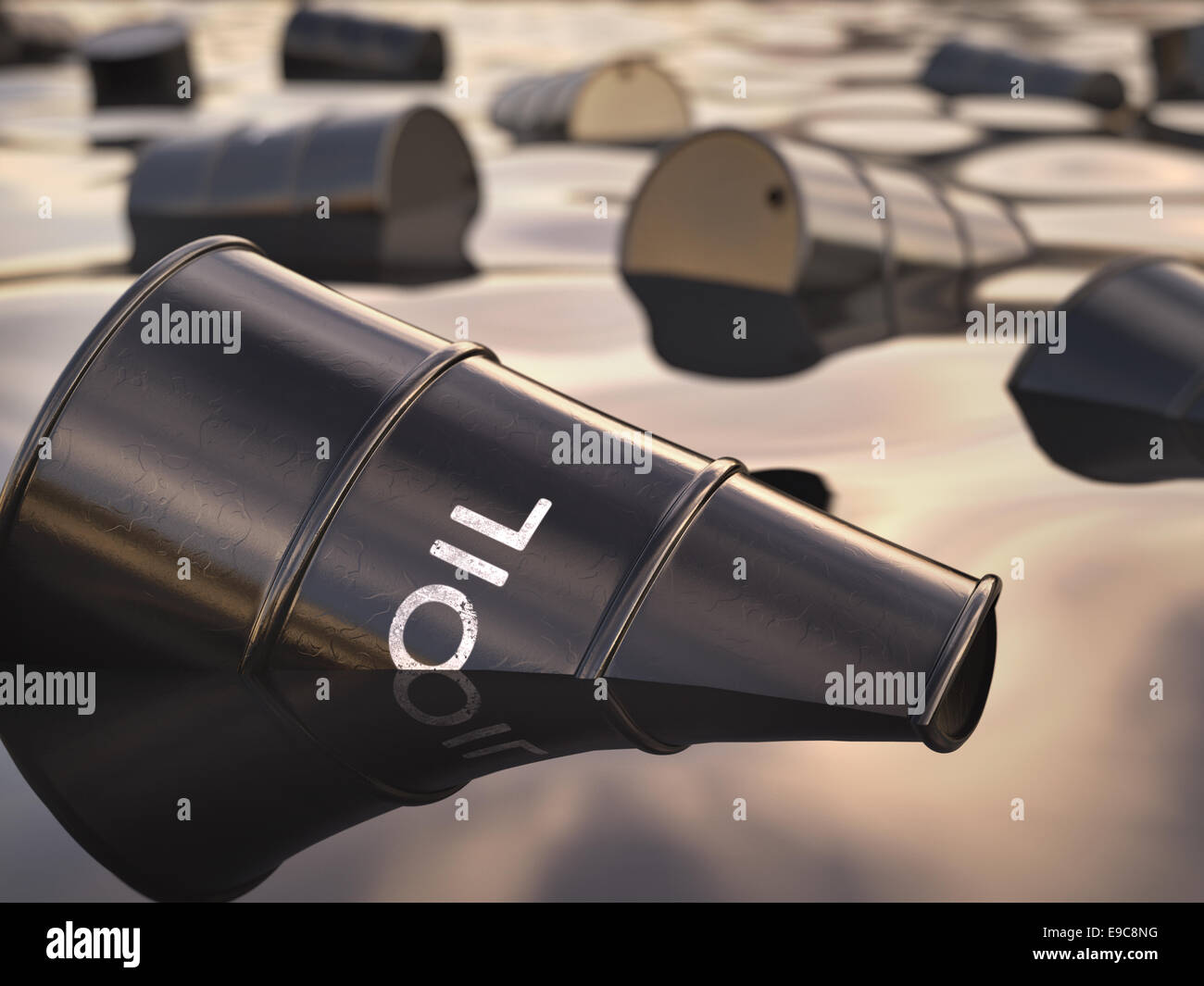 Barrels floating on a sea of oil. Concept of environmental disrepair. - Stock Image