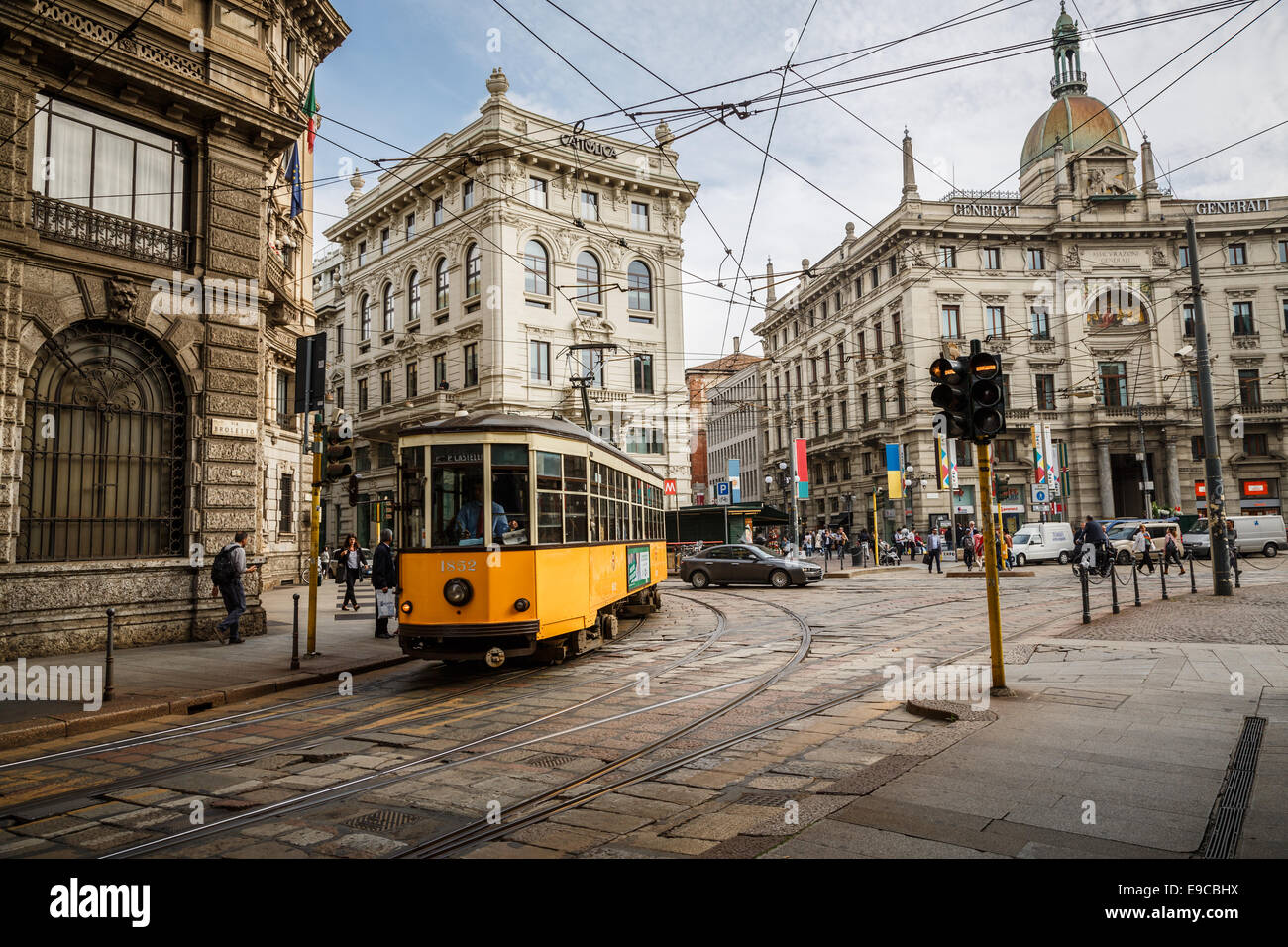Piazza Cordusio in Milan, Italy Stock Photo