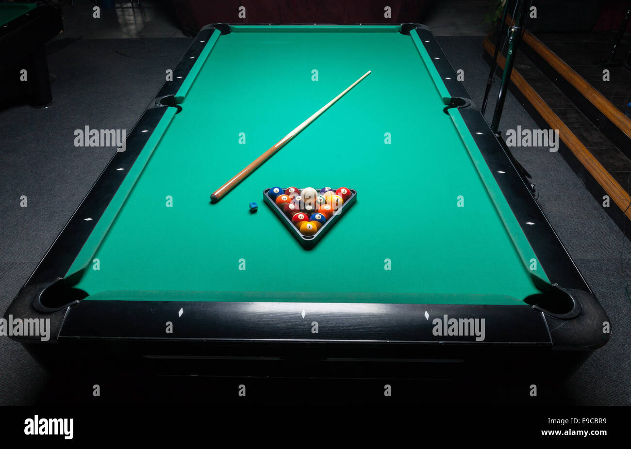 Table for billiards and ball top view. - Stock Image