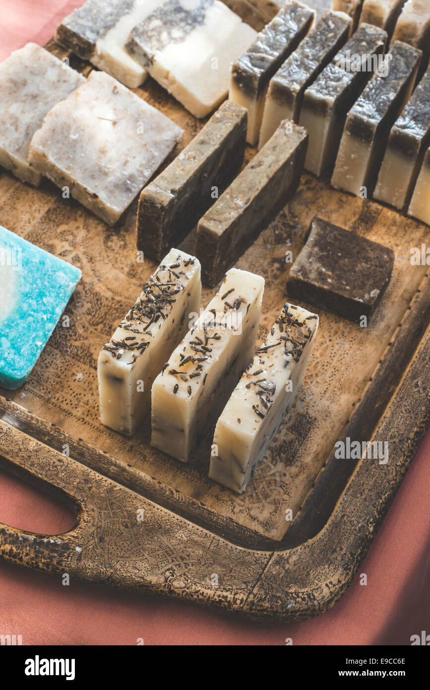 Handmade soap with herbs. - Stock Image