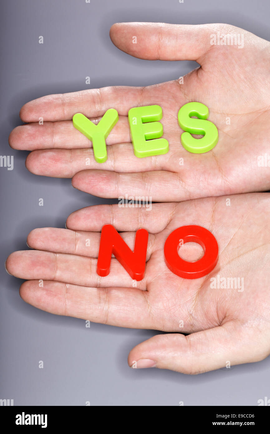 Words YES and NO written with plastic letters and photographed with a ring flash. - Stock Image