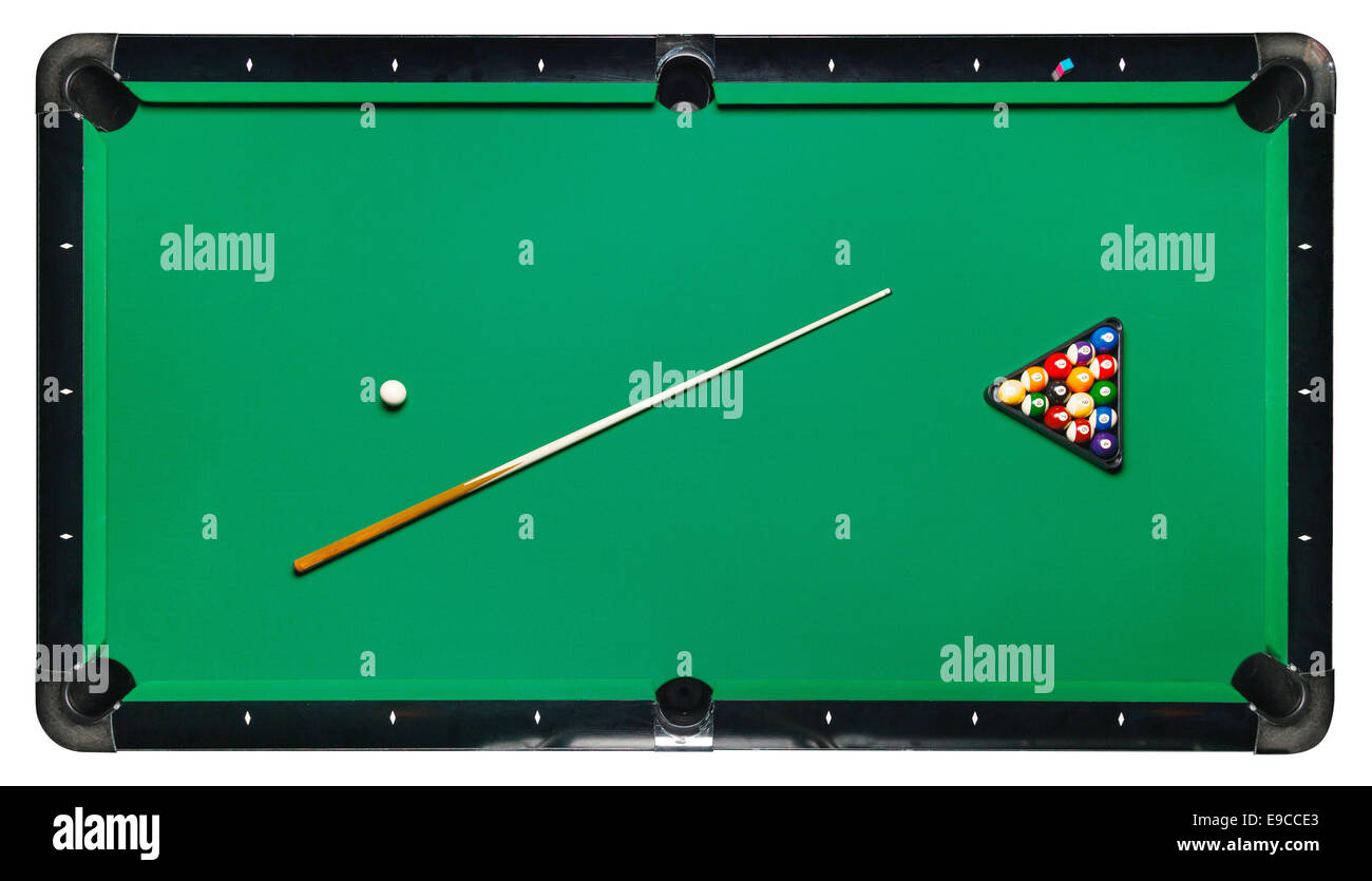 Billiard table, top view isolated white background. Path included - Stock Image