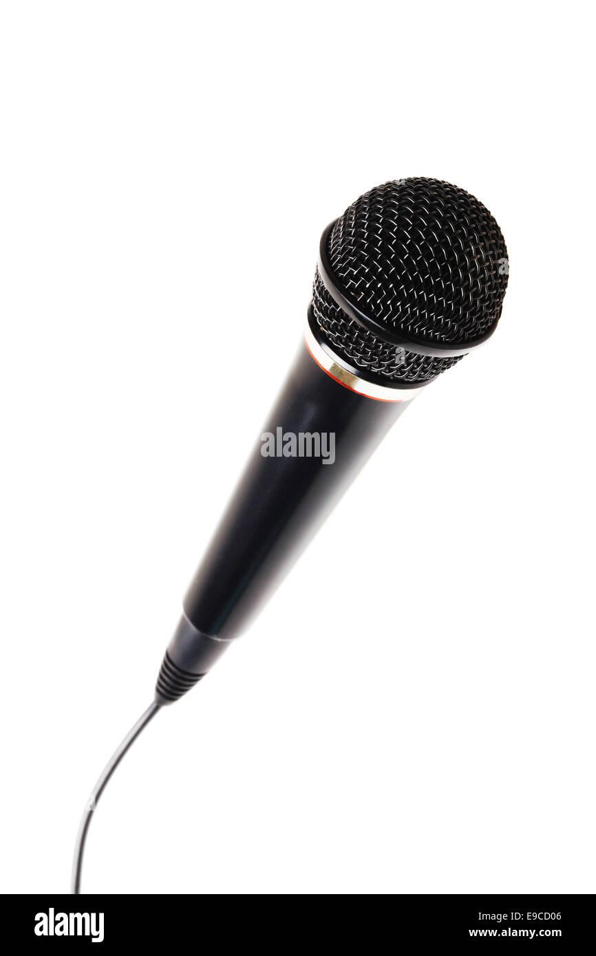 Stylish microphone isolated on white background - Stock Image