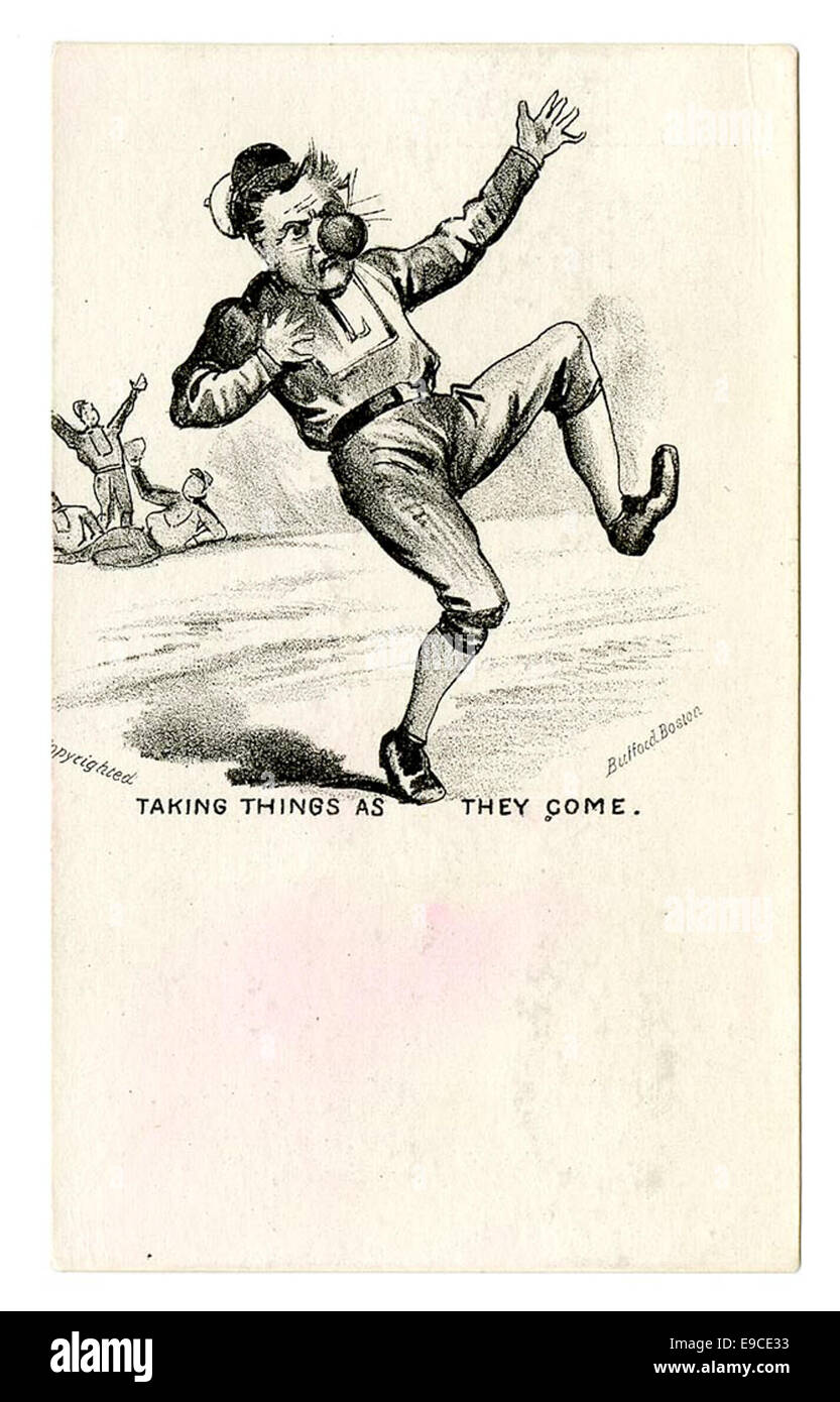 """Baseball trade card, """"Taking things as they come"""" - Stock Image"""