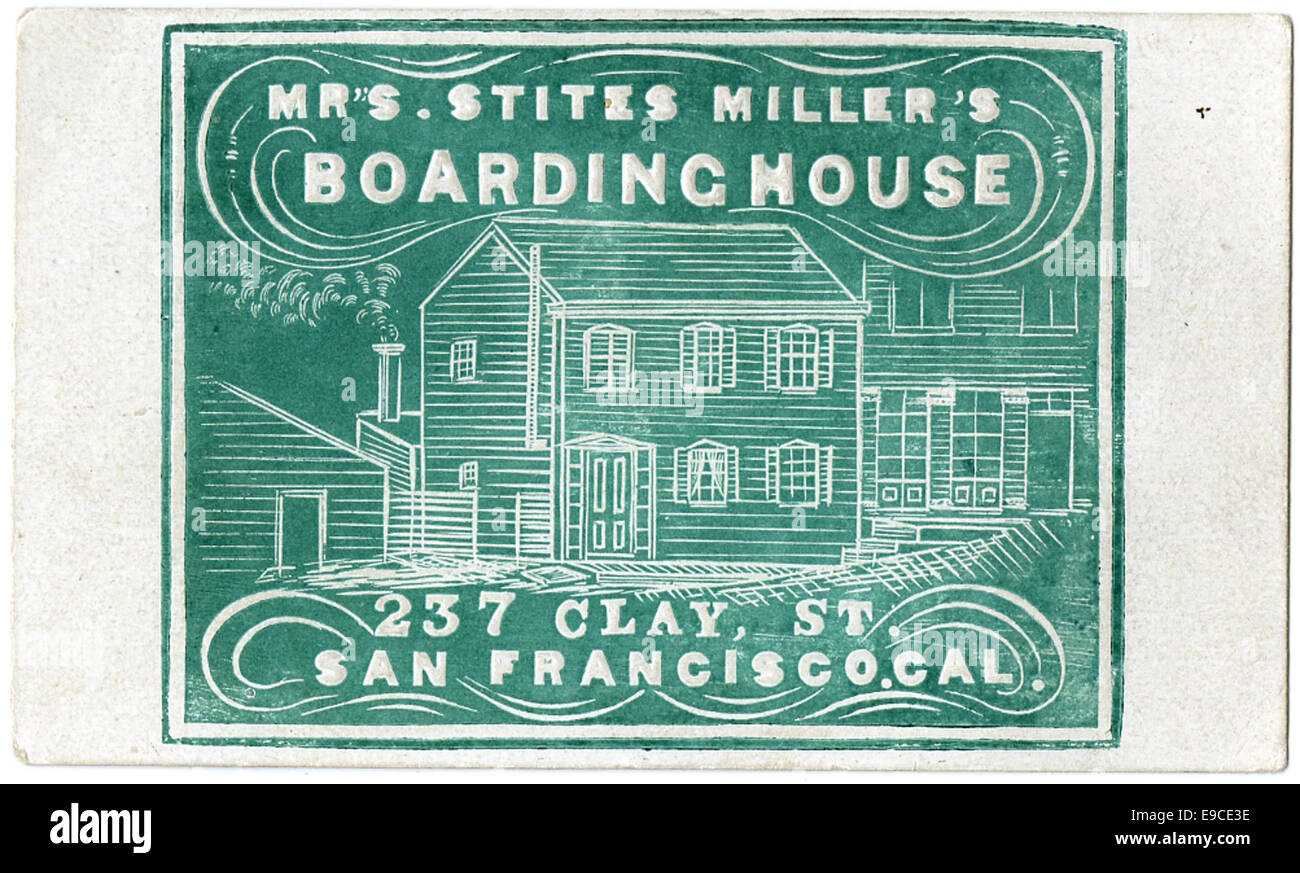 Business Card For Mrs Stites Millers Boarding House 237 Clay St