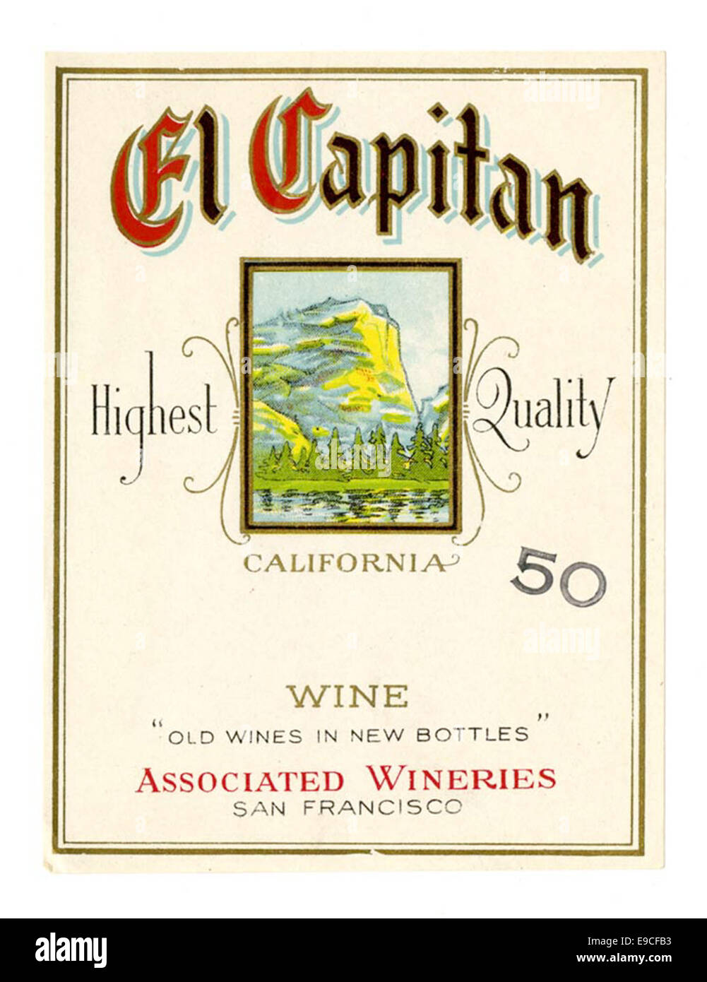 Wine label, Associated Wineries, El Capitan - Stock Image