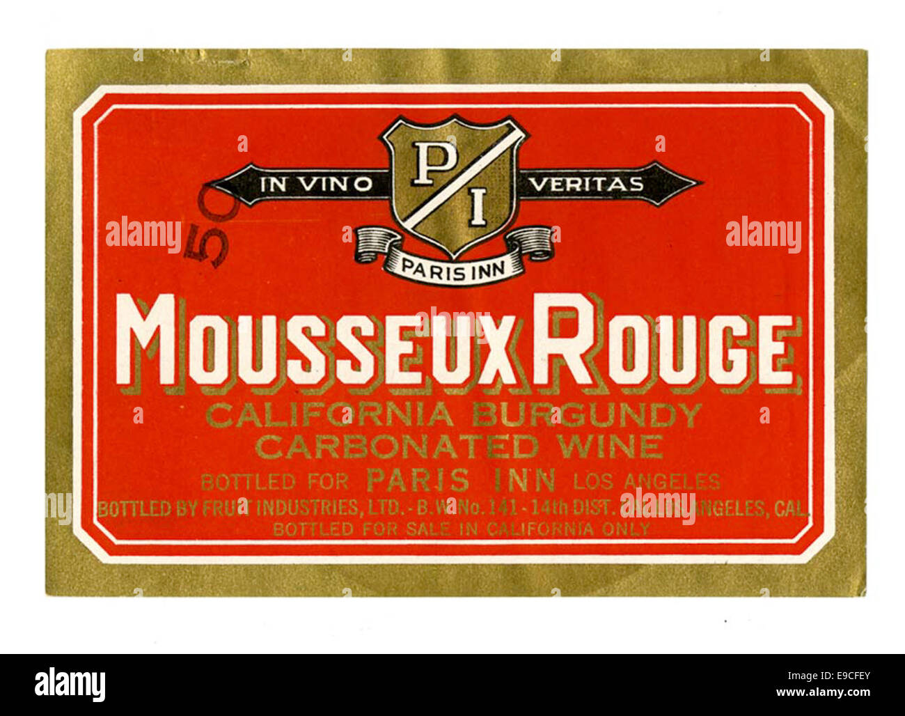 Wine label, Fruit Industries, Ltd., Mousseux Rouge California Burgundy - Stock Image