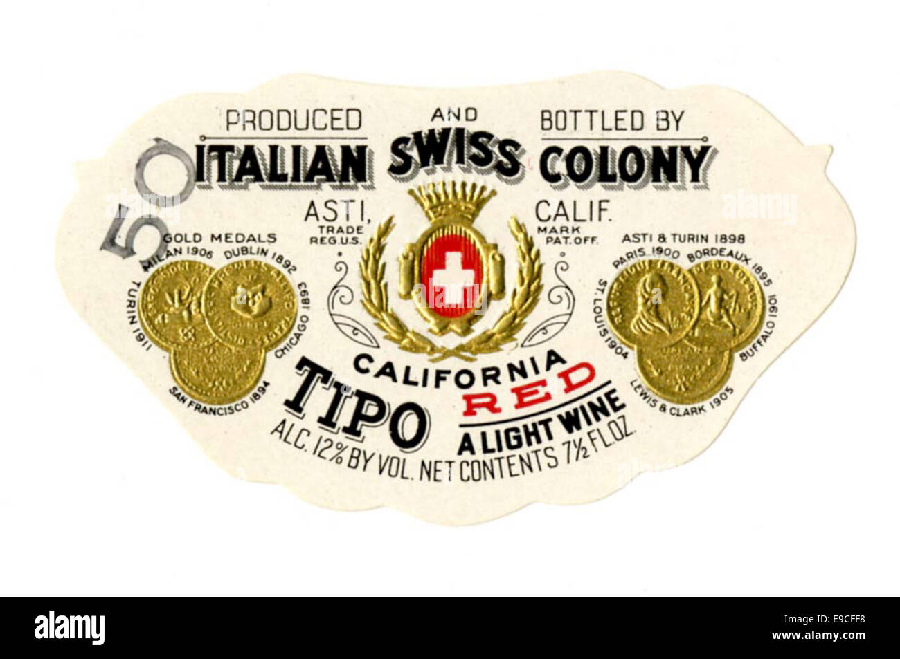 Wine label, Italian Swiss Colony, Tipo California Red - Stock Image